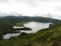 Lagoa do Fogo Fire Lake top of Agua de Pau Volcano Sao Miguel Island Azores