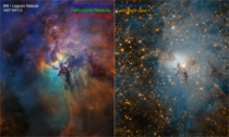 Lagoon Nebula Visible light view on the left vs infrared light view on the right Credits NASA ESA and STScI