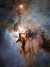 Lagoon Nebula  with intense winds churning funnels of gas and an active star formation