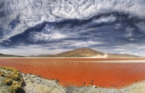 Laguna Colorada Bolivia The reddish color is caused by red sediments and algae