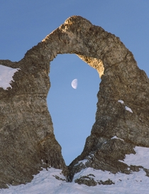 LAiguille Perce The Eye of the Needle Formed by erosion from the wind Tignes FRANCE