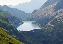 Lake and Dam Fedaia Pass Dolomites Italy