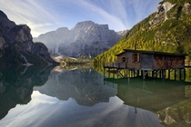 Lake Braies in the Prags Dolomites South Tyrol Italy