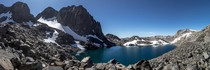 Lake Catherine below Banner Peak and Mount Ritter in the High Sierra CA