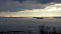Lake Champlain has not frozen over yet this year which made for quite a spectacle of fog today when the temperature dropped to five below Burlington VT
