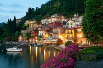 Lake Como at dusk in Varenna Italy