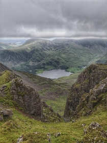 Lake District National Park looking down to Buttermere Lake  X