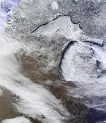 Lake effect snow bands over Michigan on Tuesday as captured by NASAs MODIS