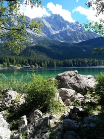 Lake Eibsee and Zugspitze Alps Germany