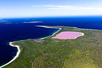 Lake Hillier in Australia is Pink Source Tourism Australia