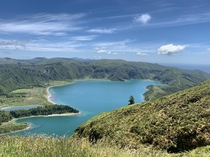 Lake in an extinct volcanic crater So Miguel Island Azores Portugal