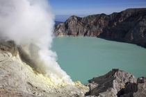 Lake inside Kawa Ijen Volcano East Java Indonesia photo by Jean Marie Hullot
