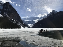 Lake Louise at Banff National Park Thawing Today