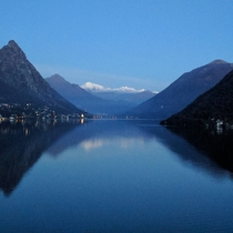 Lake Lugano Switzerland view from a gas station tonight