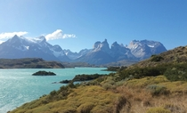 Lake Pehoe overlooking Torres Del Paine Patagonia Chile