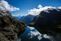Lake Quill high up in the mountains of Fiordland National Park New Zealand