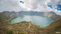 Lake Quilotoa in Ecuador A result of a volcanic eruption over  years ago the teal-colored waters are simply breathtaking Additionally the lake sits at over  feet above sea level Crazy