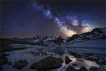 Lake Rinnensee at night with Milkyway Stubaital Tyrol Austria  photo by Nicholas Roemmelt
