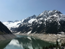 Lake Schlegeis located in the Zillertal valley Tyrol Austria