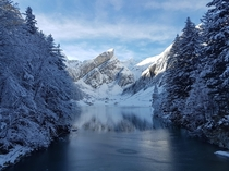 Lake Seealpsee in the winter