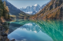 Lake Shavlinsky Altai Mountains Russia  by Anatoly Dovydenko