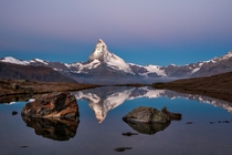 Lake Stellisee in front of Matterhorn Swiss Alps  by Lazar Ovidiu