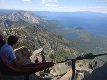 Lake Tahoe seen from summit of Mt Tallac