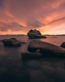 Lake Tahoes Bonsai Rock shortly after sunset OC
