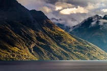 Lake Wakatipu and the Slopes of Cecil Peak at Sunset