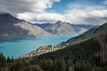 Lake Wakatipu as seen from the Ben Lomond Trail Queenstown New Zealand