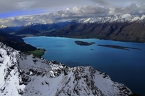 Lake Wakatipu near Queenstown New Zealand from a small plane