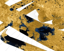 Lakes on the surface of Saturns moon Titan artificial color