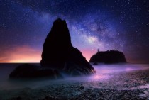 Land Before Time Composite of the Milky Way over Ruby Beach