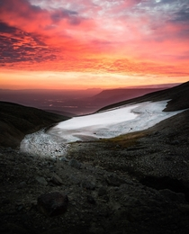 Land of Fire and Ice - Sunrise at  am in the highlands of Iceland  in summer  - more of my landscape photography at insta glacionaut