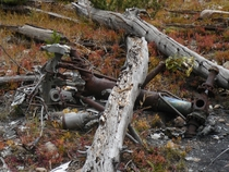 Landing gear of wrecked plane abandoned on a Colorado mountainside