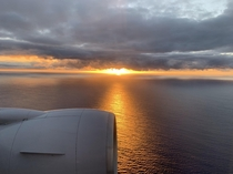 Landing on Oahu at sunset