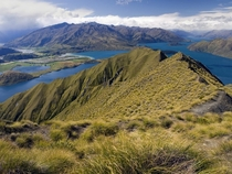 Landscape with Lake Wanaka in New Zealand