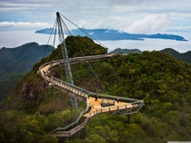 Langkawi Sky Bridge in Langkawi Island Malaysia - is a m long curved pedestrian cable-stayed bridge and m above sea level