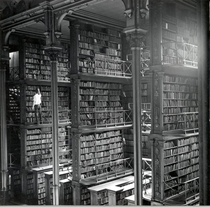 Large cast-iron book alcoves in the hall of the former Main Cincinnati Public Library Building designed by JW McLaughlin in