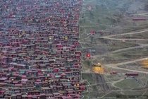 Larung Gar in Tibet the largest Buddhist settlement in the world being demolished by the Chinese authorities Photo by Marco Grassi