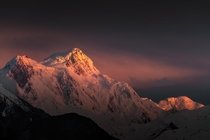 Last light hitting the Nanga Parbat Pakistan