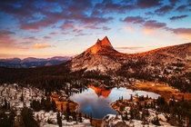 Last light on Cathedral Peak Yosemite - by Nolan Nitschke