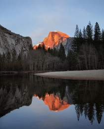 Last Light on Half Dome Yosemite Valley CA oc
