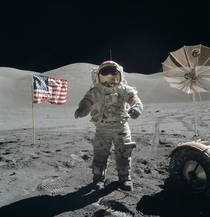 Last men on the Moon In December of  Apollo  astronauts Eugene Cernan and Harrison Schmitt spent about  hours on the lunar surface in the TaurusLittrow valley Schmitt took this picture of Cernan flanked by an American flag and their lunar rovers high-gain