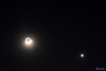 Last nights conjunction between the crescent moon Venus and Mars
