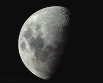 Last nights  Waxing Gibbous Moon captured with a telephoto lens