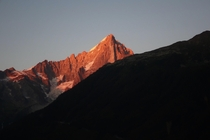 Last rays of light on Aiguille Verte Chamonix France