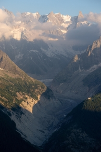 Last sunlight touching the Grandes Jorasses in the Mont Blanc range