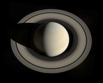 Last week Cassini changed its orbital inclination and captured  images of Saturn from an unusual angle high over the planets north pole Someone assembled them into one picture and this was the result