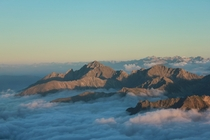 Late afternoon above the sea of clouds looking east over the central Pyrenees Pic du Midi de Bigorre France